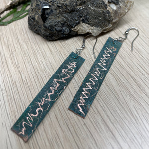 Abstract Patterned Copper Patina (Vertigris) Dangle Drop Earrings