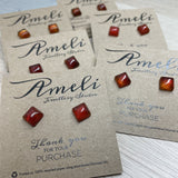 Gemstone Small Square Earring Studs - Multiple colours of Agate available