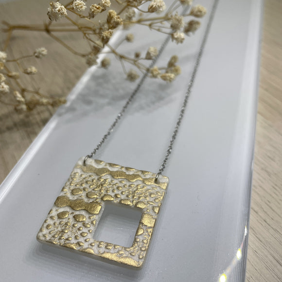 Gilded White Square with Window Porcelain Polar Ice Necklace - Stainless Steel Fine Chain Necklace