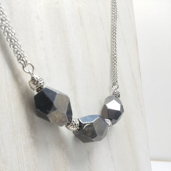 Faceted Hematite Matinee Necklace - Ameli Jewellery Studio