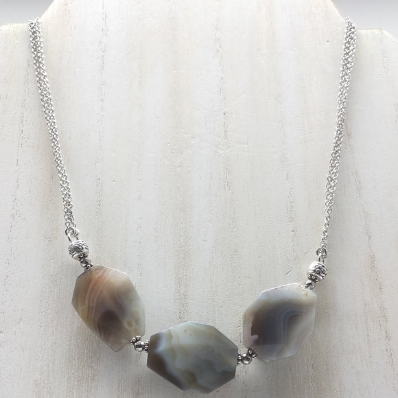 Botswana Agate Matinee Gemstone Necklace - Ameli Jewellery Studio
