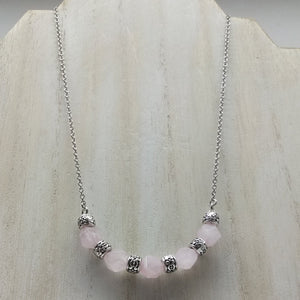 Rose Quartz Half Moon Necklace - Ameli Jewellery Studio