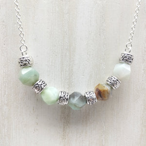 Amazonite Half Moon Necklace - Ameli Jewellery Studio