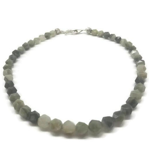 Faceted Green Line Jasper Princess Necklace - Ameli Jewellery Studio
