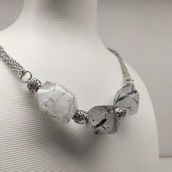 Faceted Tourmalinated Quartz Matinee Necklace - Ameli Jewellery Studio