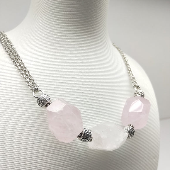 Faceted Rose Quartz Matinee Necklace - Ameli Jewellery Studio