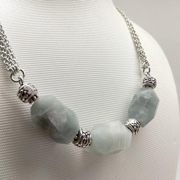 Faceted Aquamarine Matinee Necklace - Ameli Jewellery Studio