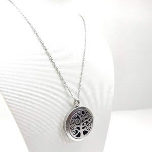 Tree of Life - (Swirl)  Aromatherapy Locket Diffuser Long Necklace - Ameli Jewellery Studio