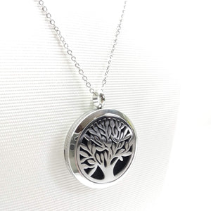 Tree of Life (Leaf)- Aromatherapy Locket Diffuser Long Necklace - Ameli Jewellery Studio