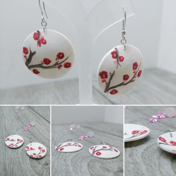 Hand Painted Concave Cherry Blossom Double Sided Earrings, Sakura Earrings