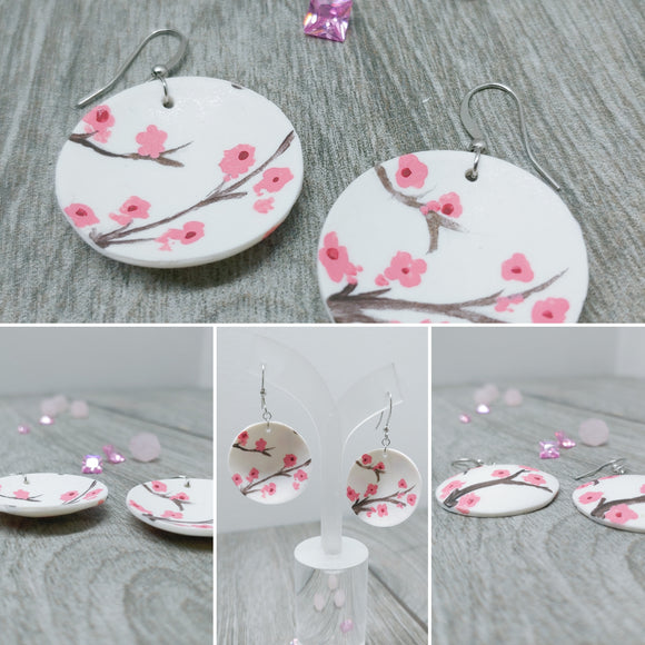 Hand Painted Concave Cherry Blossom Earrings (Sakura Earrings)