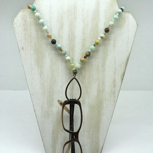 Amazonite Eyeglass Harmony Necklace- Bronze - Ameli Jewellery Studio