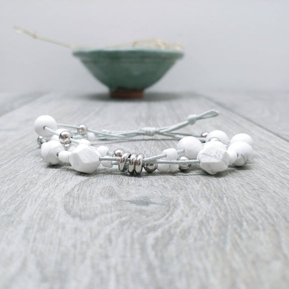 Howlite Three-Tier Bracelet