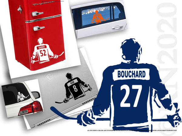 Ice Hockey Decal, Custom Name and jersey numbers, Hockey wall art - Rinö home decor, car window , laptop, bumper sticker locker room, personalized bedroom door decal,