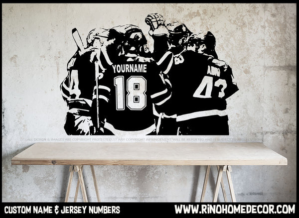Hockey Players Decal - Custom Name and jersey numbers - Hockey wall art - hockey wall decor - Rinö home decor