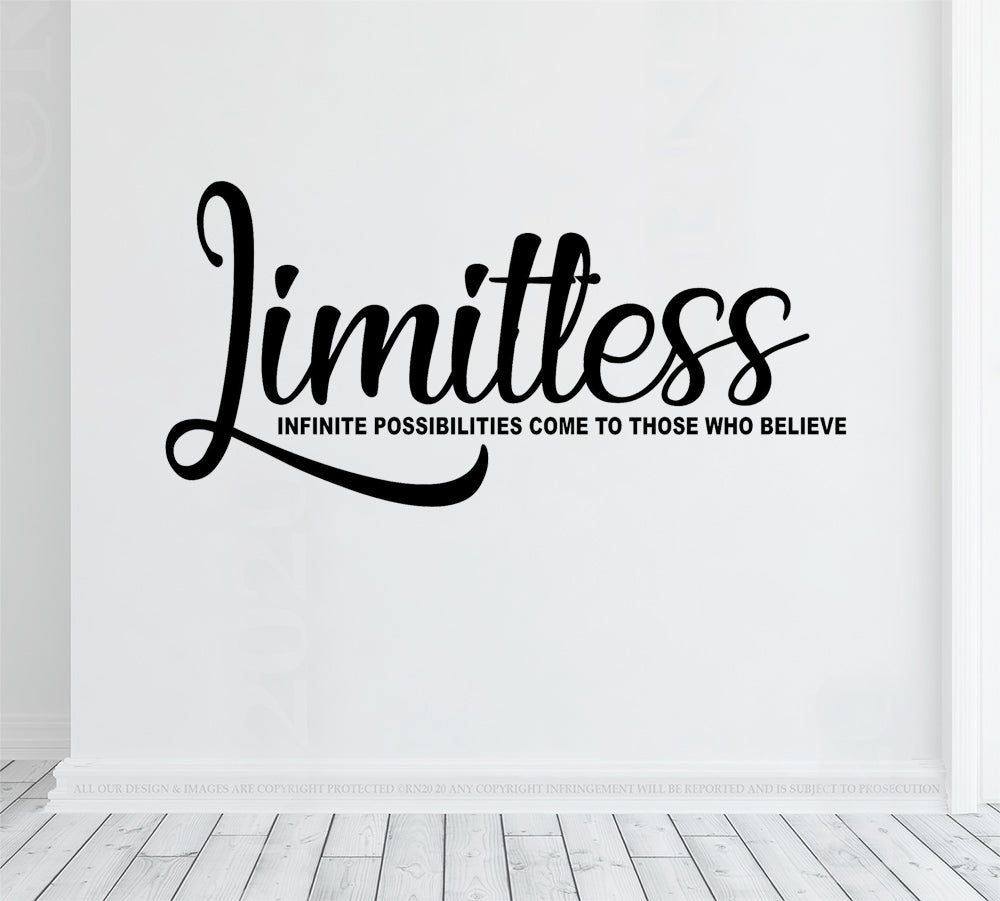 Limitless - Wall Decal sticker, motivational quote, vinyl wall art office, gym decor, home gym, fitness, business woman, businessman