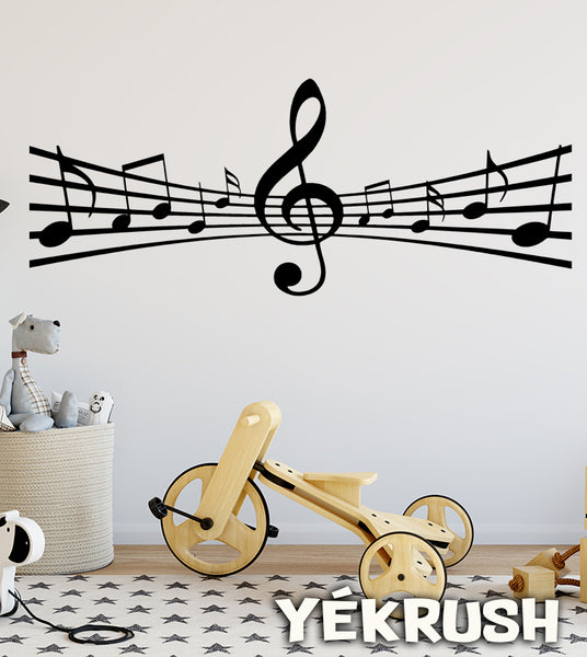 Decal, Music staff Vinyl Wall Decal, music wall decor, music staff decal, music decals, music sheets sticker, notes decal