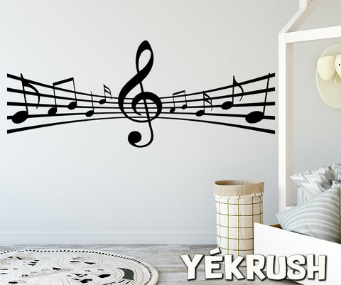 Music Staff Notes Decal, Music staff Vinyl Wall Decal, music wall decor, music staff decal, music decals, music sheets sticker, notes decal