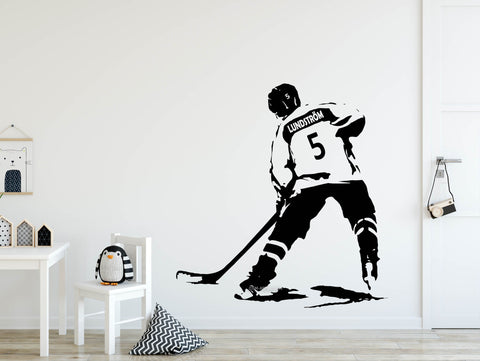 Hockey Wall Decal, Wall Art, Custom Name & Jersey Numbers Hockey Vinyl Decal, Personalized Wall decor, Ice Hockey sticker, man cave, bedroom