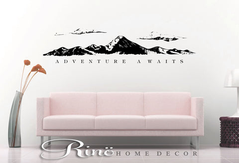 Adventure awaits wall decal - Mountains Decor - Travel wall quote vinyl lettering sticker home decor explore wall saying