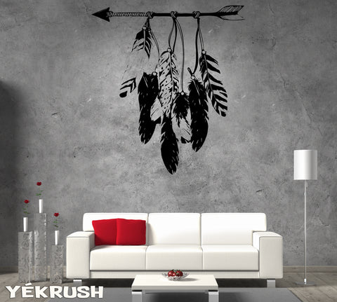 Arrow & feathers Wall Decal - Boho decor - Large wall art Vinyl Sticker tribal / aztec arrow and Feather Decals Bohemian Decor Bedroom