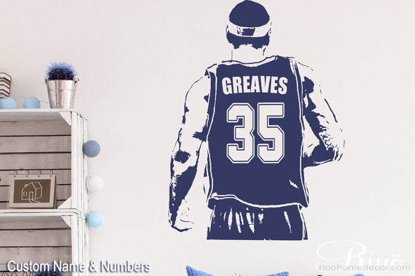 Basketball Player Decal - Wall Art Basketball - Custom Name basketball - Choose Name and jersey Numbers - Vinyl sticker decor kids bedroom