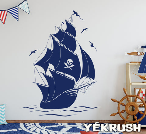Big pirate ship decal, pirate ship wall art, pirate ship vinyl stickers, pirates ship mural, pirates ship decal sticker, large ship decal