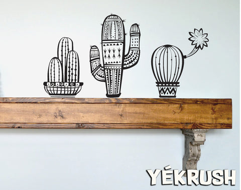 Cactus (3) wall decals, Cactus vinyl sticker, Cactus vinyl decals, cactus wall art, Saguaro wall stickers, Desert decor, Shelf decor idea