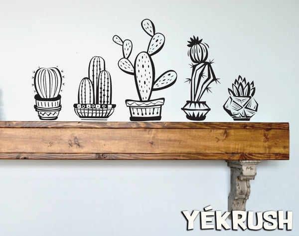 Cactus Vinyl Decals - Pack of 5 - each cactus can be cut and placed separately