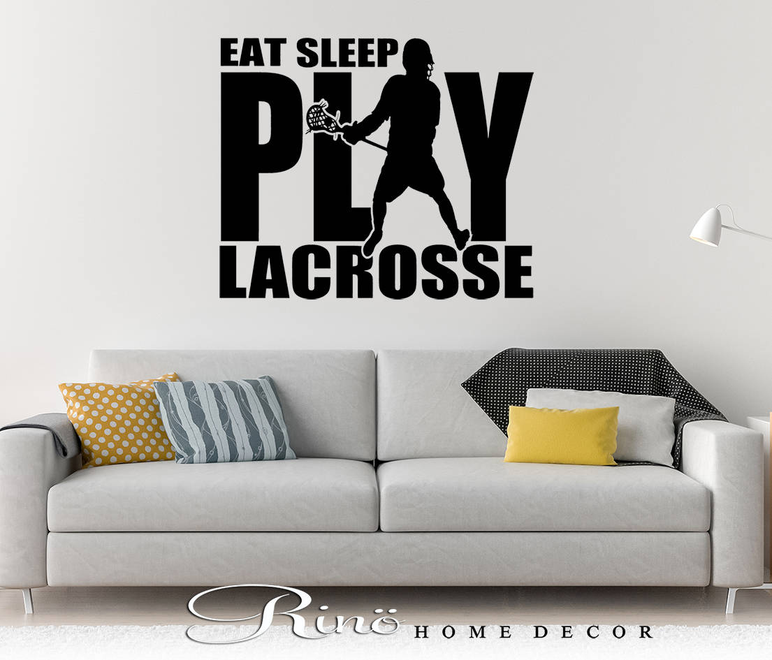 Lacrosse Wall art - Lacrosse decal - Lacrosse decor - eat sleep play lacrosse vinyl Decal LAX sticker player kids teen bedroom home decor