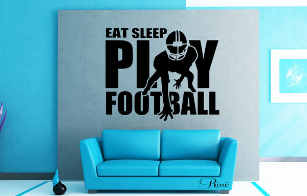 Eat sleep play Football decal Wall art vinyl Decal car window bumper sticker player kids teen bedroom home decor american football