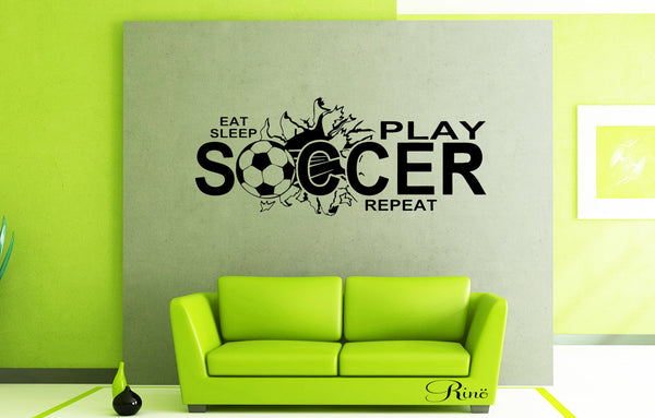 Eat sleep play SOCCER Wall art vinyl Decal - Soccer decals - soccer decor - bedroom soccer decor - football decal soccer wall decal sticker
