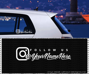 Follow us INSTAGRAM custom vinyl decal - personalized Text vinyl sticker- wall decals - car window - laptop - Decal without Background