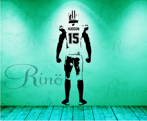 Football Wall art Wall Decal Decor Custom jersey name and number Vinyl sticker american football bedroom personalized football vinyl player