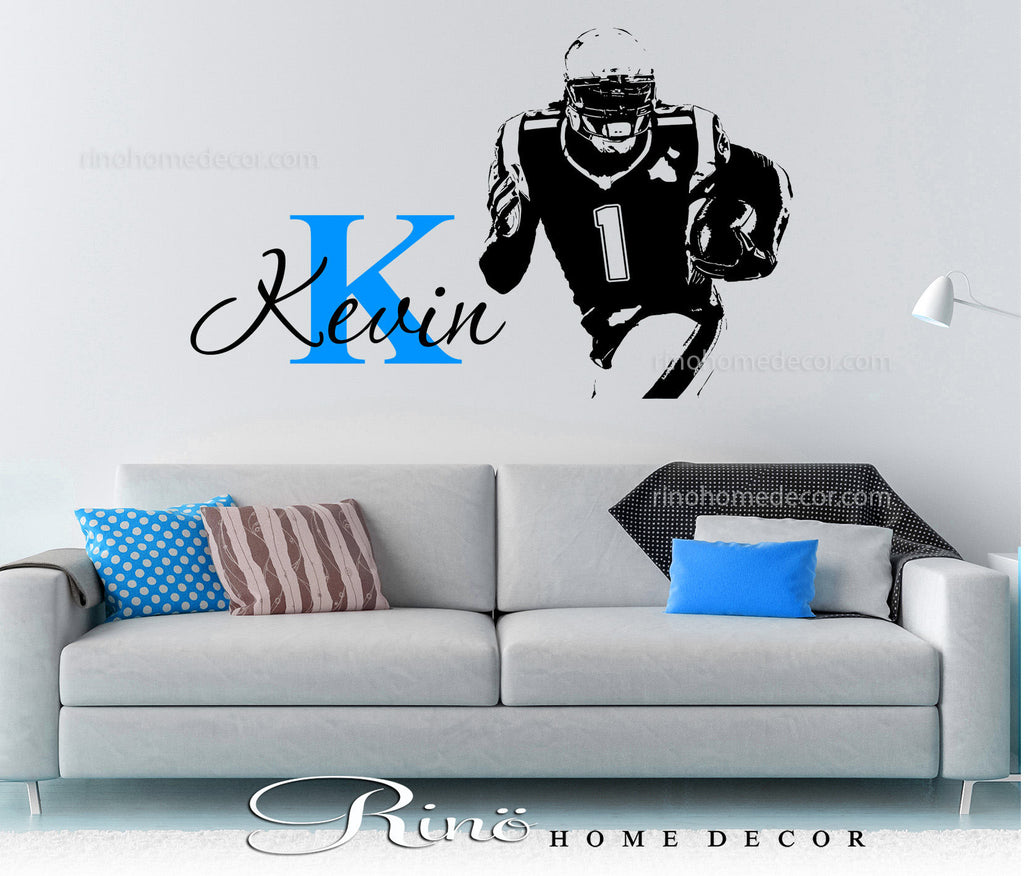 American Football Player Custom Name Wall Decals