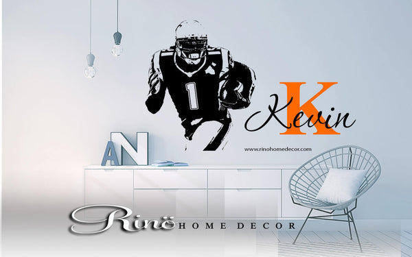 Football decal - Custom First name vinyl sticker - Wall art football bedroom decor - american football large decal personalized initial