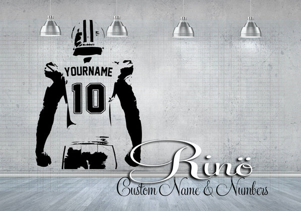 Football Wall Decal - Custom Name American Football Wall art - Choose NAME & JERSEY NUMBERS personalized Large Player jersey Vinyl sticker decor kids boy bedroom