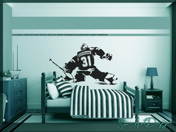 Hockey Goalie Vinyl Decal, Personalized Ice Hockey Goaltender, Custom name, jersey numbers, Man Cave, Bedroom decor, playroom, hockey gift -  Rinö home decor