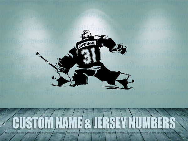 Hockey Goalie Vinyl Decal, Personalized Ice Hockey Goaltender, Custom name, jersey numbers, Man Cave, Bedroom decor, playroom, hockey gift