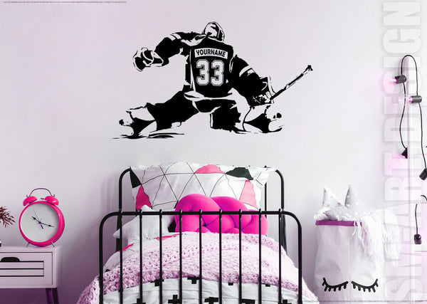 Female Hockey Goalie Vinyl Decal - CUSTOM NAME Girl Goalkeeper - ice hockey wall art - goaltender woman sticker sports bedroom decor
