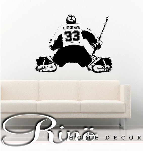 Hockey Goalie Decal Wall art Custom Large Player choose jersey name and numbers Vinyl wall sticker decor kids bedroom