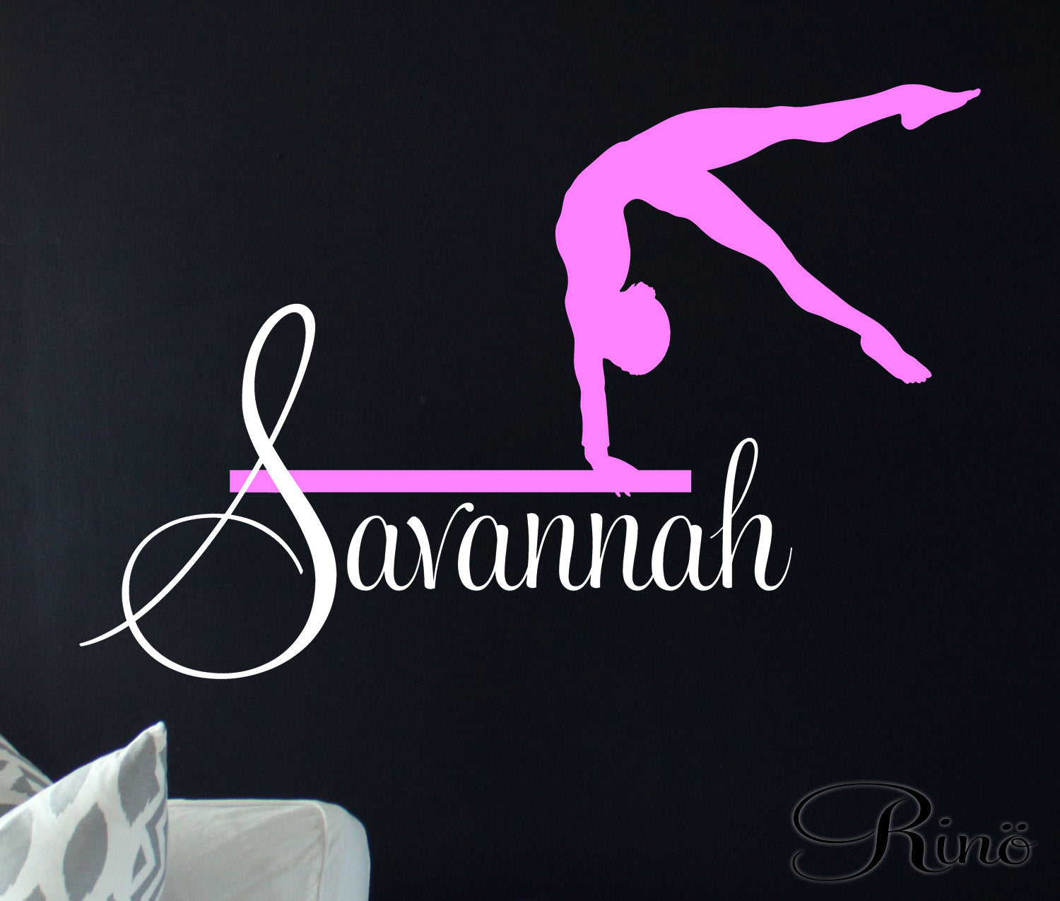 Gymnast Wall art Decal Custom Name Vinyl sticker home decor gymnastic  Keywords: leotard grips girls bedroom ring silhouette dance child gift idea