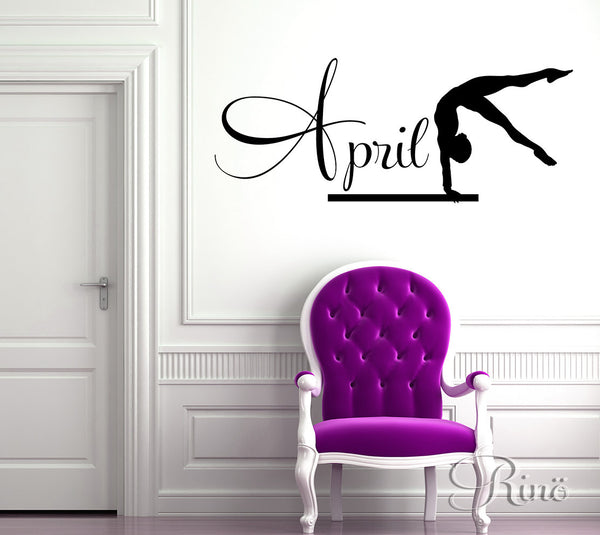Gymnast Wall art Decal Custom Name Vinyl sticker home decor gymnastic