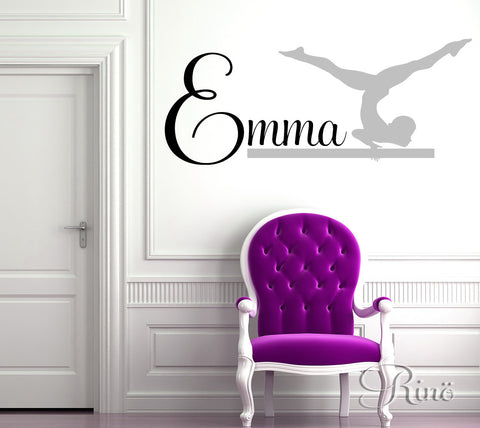 Gymnast Wall art Decal - Custom First Name Wall vinyl decal - home decor gymnastic Girl Bedroom decor leotard gymnast silhouette vinyl decal sticker
