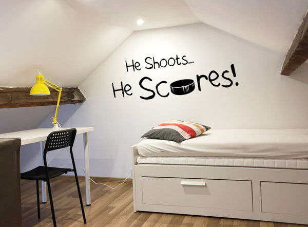 He shoots ... He scores ! Decal Hockey Puck Wall Decal Hockey Wall Art Vinyl Sticker kids teenager hockey decor - boy bedroom Sports saying
