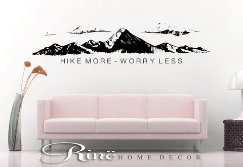 Hike more worry less wall decal wall quote vinyl lettering sticker home decor wall saying