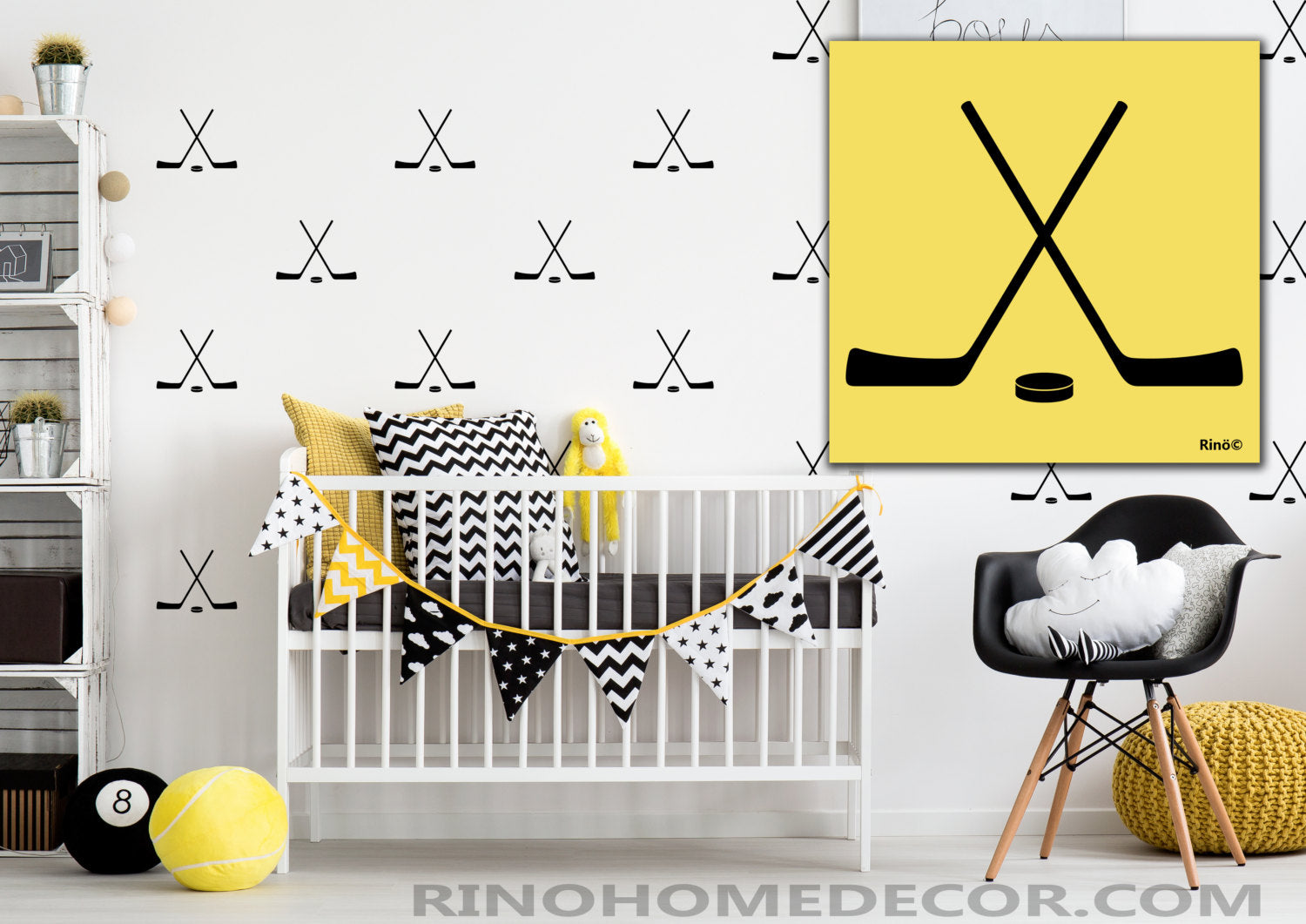 Hockey cross sticks pattern Vinyl Wall decal (Pack of 20) boy bedroom sticker wall art - wall paper effect - hockey puck decals