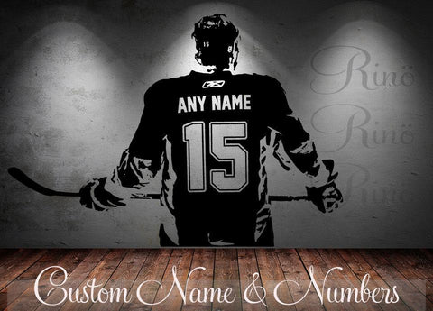 Hockey Decal - Custom Name and jersey numbers - Hockey wall art - Rinö home decor