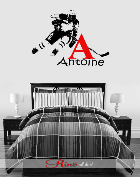 Hockey Wall Decal - Custom first name Hockey Decor - Hockey wall art vinyl sticker - hockey player personalized headboard kids boy bedroom
