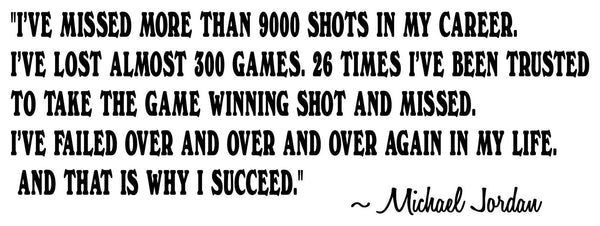 Sports quote Wall decal - Michael Jordan Success Quotes and Phrase Vinyl sticker home decor Basketball - I succeed ...